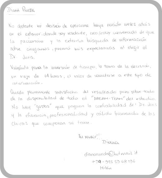 Dr Darío Juris Testimonio Diana Rueda